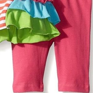 Nannette Matching Sets - Baby Girl Parrot Stripe Ruffle Top Legging Set NB